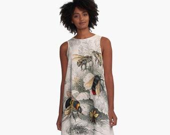 Victorian Bees A-Line Swing Dress Trapeze Dress  XS S M L XL 2XL Woman Teen Wearable Art Clothing