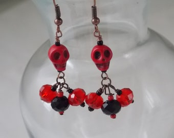 Skull Earrings Pair of Red Howlite Skull Earrings with 3 Drop Red and Black Rondell Crystals  E34