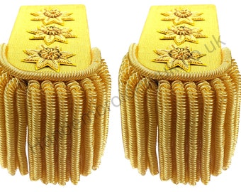 Gold Laced Regiment British and French Military Bullion Fringe Epaulette 1810