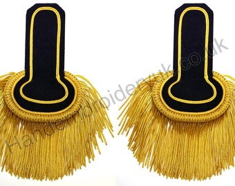 Shoulder Epaulette Black and Gold, Marching Band Epaulette, Fring Epaulette