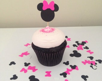 Minnie mouse cupcake toppers, minnie mouse birthday, party decorations