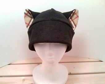 Black Cat - Cat Ears - Cat Plaid Ears - Cat Ear Hat - Prop Hat - Cat Fleece Hat - Cat Cosplay Hat - Anime Hat - Manga Hat - Cat Costume