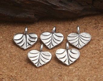 6 Thai Karen Hill Tribe Silver Heart Leaf Charms, Higher Silver Content than Sterling Silver Love Heart Leaf Charms, Leaf Heart Charms -E140
