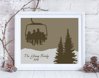 Custom Chair Lift Family ~ Personalized Ski Art Print ~ Ski Poster - Gift for Skiers ~ Family Ski Art ~ Custom Ski Art ~ Skiing Print