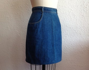 1980s Blue denim skirt