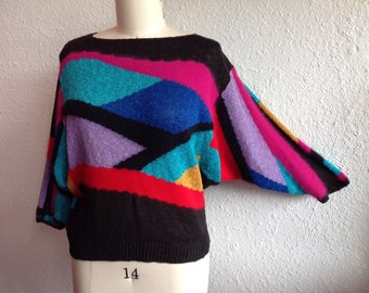 1980s Abstract batwing sweater