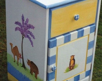 kids night stands, Jungle night table, kids painted furniture, hand painted children's night stands