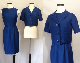 Vintage 1950s Navy Wiggle Dress and Jacket by Carol Craig // 50s wiggle dress set // Vintage Navy Blue dress and jacket