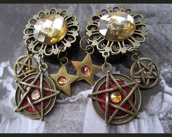 "Bewitching Pagan Pentagram EAR PLUGS dangle earring pick gauge 1/2"", 9/16"", 5/8"", 11/16"", 7/8"", 1"", 1 1/16"" aka 12, 14, 16, 18, 22, 25, 28mm"