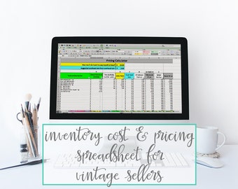 Inventory Cost & Pricing VINTAGE Spreadsheet - pricing template, vintage inventory tracking for vintage sellers