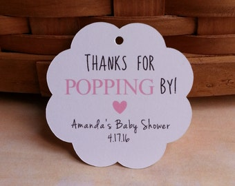 25 Thanks for Popping By Bridal Shower Favor Tags, Thanks for Popping By Baby Shower Favor Tags, Popcorn Favor Tags, Popcorn Favor Tags