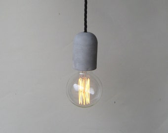 neutral cement plug in pendant light make to order with e27 screw lamp holder twisted black