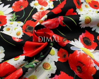 Daisy and poppy fabric by the yard #4507