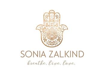 Logo Design Branding Package Premade Graphics Custom Text Rose Gold Pink Floral Hamsa Hand Logo Design