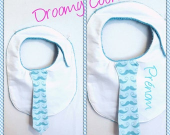 Bib sponge and cotton from 4 months tie, moustache, white, turquoise blue