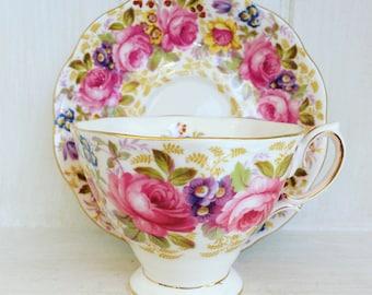 """Royal Albert """"Serena"""" bone china cup and saucer."""