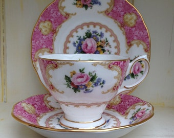 Vintage bone china Lady Carlyle - Royal Albert trio