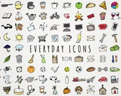Everyday Items Clipart Set - clipart for planner stickers, chores clip art, printable planner stickers, everyday objects, icons clip art