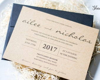 Rustic Wedding Invitation, Kraft Wedding Invitation, Organic Wedding invitation, Vintage Wedding Invitation, Barn Farm Wedding