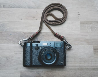 Leather Camera Strap with Quick Release Snaps  | Thin Leather Camera Strap | Horween Chromexcel Leather Camera Strap