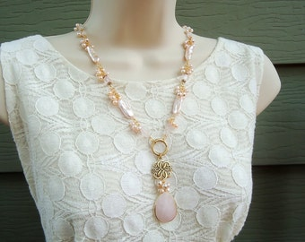 Rose Quartz Gemstone.Pendant Necklace and Cluster Earrings Set.Long Necklace.Beaded.Pearls.Pink.Gold.OOAK.Statement.Dangle.Drop.Handmade.
