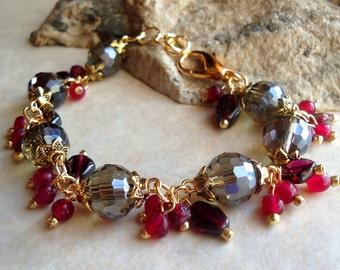 Multi Gemstones Cluster Bracelet.Smoky Quartz.Garnet.Red Jade.24K Gold Plated.Wedding.Beadwork.Bridal.Statement.Colorful.Holiday.Handmade
