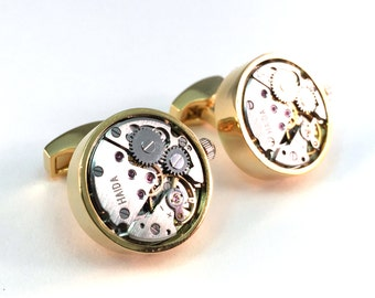 Steampunk Watch-like Cuff Links (Movable) Cuff Links