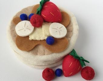 Felt Play Food Breakfast Pancakes, Maple Syrup, Berries, Strawberry, Raspberry, Blueberry, Banana, Pretend Play, Play Kitchen