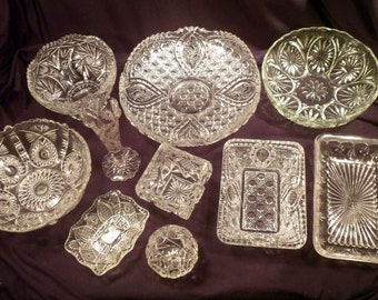 Collection 10 Pieces EAPG, Early American Pattern Glass, Over 13 Lbs, Bowls, Trays, Vases