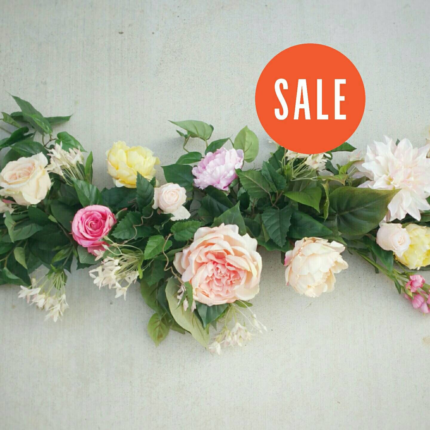 sale flower garland silk flower garland table by thefauxbouquets. Black Bedroom Furniture Sets. Home Design Ideas