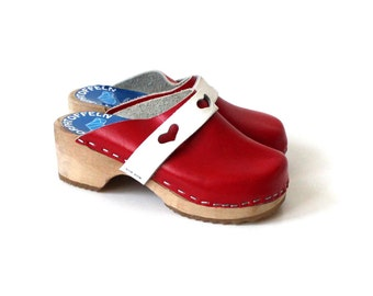Red Wooden Clogs Childrens Leather Shoes Eco Friendly Clogs Swedish Natural Shoes
