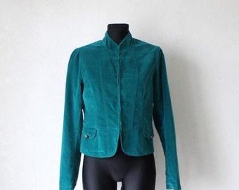 Vintage Sea Green Velvet Blazer Cotton Jacket Medium Size