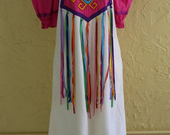 Vtg 60s 70s Womens Mexican Caftan Dress Caftan Irene Pulos Embroidered Ribbon Boho Hippie