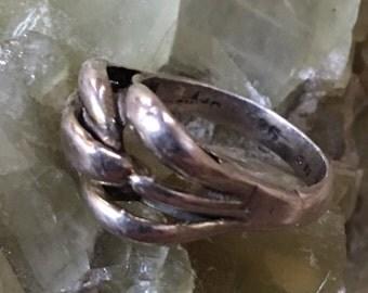 sterling silver modern interwoven ring