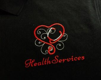 Nurse Stethoscope Heart Swirl Health Services Vet Doctor Customize Colors, Monogram Initials Option Polo Men Women