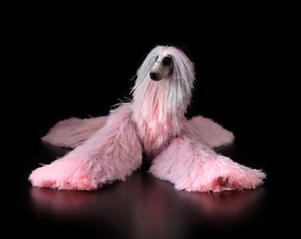 miniature animal, afghan hound, pink gray dog, stuffed toy, cute plush toy, stuffed animals, Barbie dolls, needle felted animal,