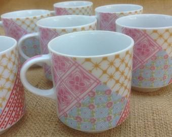 1970s Coffee Mugs, Set of Eight
