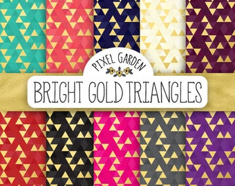 70% OFF SALE. Gold Geometric Digital Paper. Gold Foil Triangle Patterns. Metallic Coral, Turquoise, Cream Background. Triangle Digital Paper