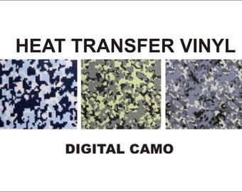 "Digital Camo HEAT TRANSFER T shirt Vinyl 15"" X 12"" Iron On Camoflauge"