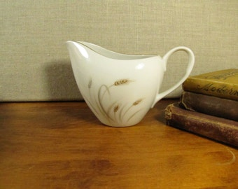 Fine China - Golden Wheat - Creamer - Brown Wheat and Gray Leaves - Gold Accent - Made in Japan