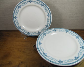 Trenton China (Sterling) - Restaurant Ware - Dessert Plates - Teal Green Design - Fruit Baskets and Urns - Made in America