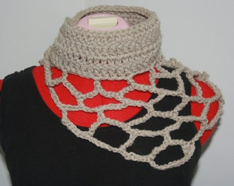 Item no:86 Ready To Ship ~Freeform Crochet Shawl/Collar. Modern, Unique, Organic Design. Ladies Freeform Crochet. Natural Sand/Tan Colour.