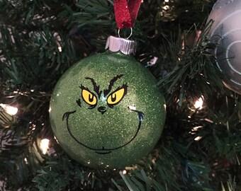 Mr. Grinch Glass Ornament