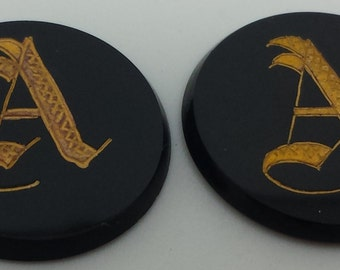 Pair Initial A Cabochons, Old Engligh Scroll Letter A
