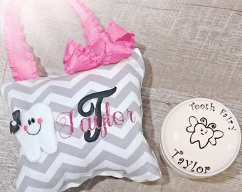 Tooth Fairy Pillow and First Tooth Box Gift Set