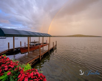 Lake Winni Vacation ~ Lake Winnipesaukee, Meredith, New Hampshire, Church Landing, Lake Photography, Rainbow, Wall Decor, Joules, Artwork