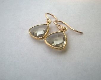 Green amethyst earrings; 14Kt gold filled amethyst earrings; february birthstone; green amethyst drop earrings