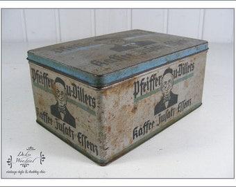 "antique german coffee tin ""Pfeiffer & Diller coffee essence"""