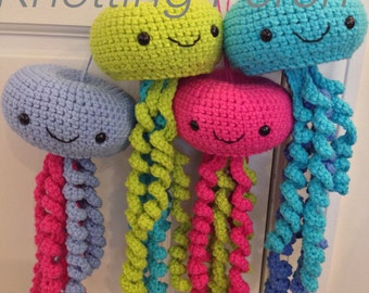 Stuffed Jellyfish, Stuffed octopus, crochet jellyfish, crochet octopus, jellyfish mobile, octopus toy, jellyfish toy
