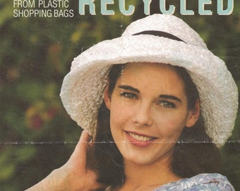 Vintage Pattern Recycled Hats From Plastic Shopping Bags Women's Weekly 1993